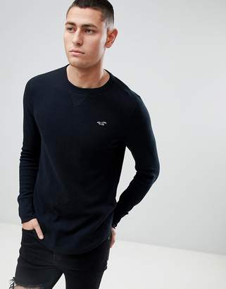 Hollister Seagull Logo Long Sleeve Top in Black