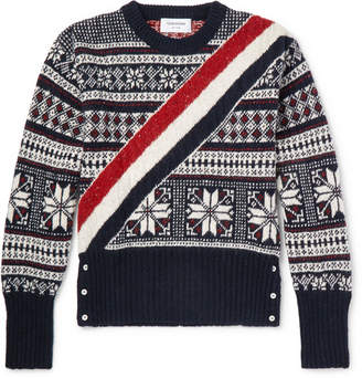 Thom Browne Striped Fair Isle Wool And Mohair-Blend Sweater