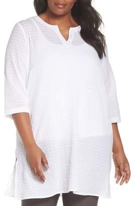 Eileen Fisher Split Neck Textured Tunic