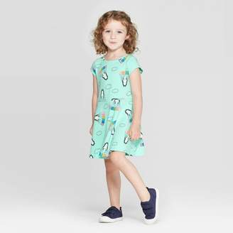 Cat & Jack Toddler Girls' Short Sleeve Panda Print Knit Dress - Cat & JackTM Aqua