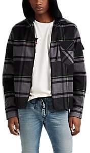 Off-White Off - White c/o Virgil Abloh Men's Logo Plaid Flannel Shirt Jacket - White