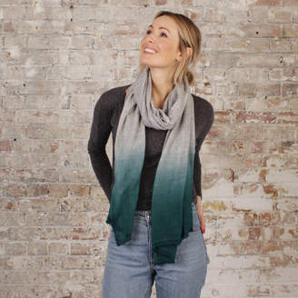 Aura Que Fair Trade Dipdye Ombre Two Tone Soft Wool Scarf