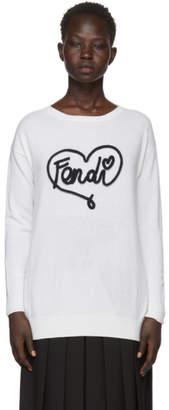 Fendi White Cashmere Heart Sweater