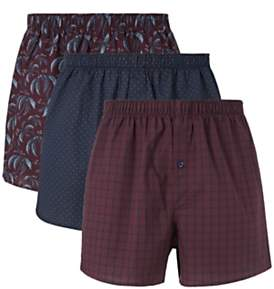 Winter Berry Organic Cotton Boxers, Pack of 3, Red/Multi