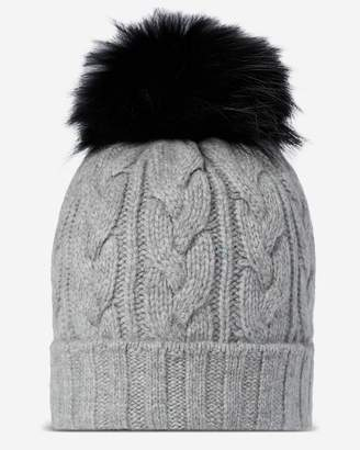 b3a85bd53b7 N.Peal Chunky Cable Raccoon Pom Cashmere Hat