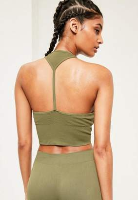 Missguided Active Khaki Seamfree Cropped Sports Top