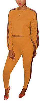 Akmipoem Women's 2 Pieces outfits Crop Top and Long Pants Sweatsuits Set Tracksuits