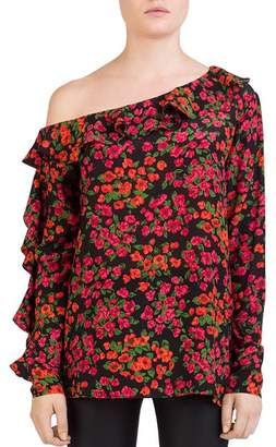The Kooples Camelia Ruffled One-Shoulder Floral Silk Top