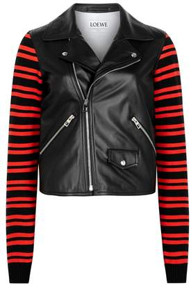 Loewe Black Knitted And Leather Jacket