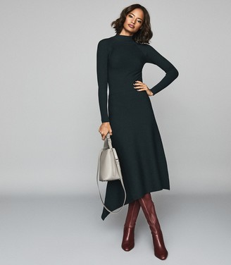 Reiss LEO TURTLENECK KNITTED DRESS Teal