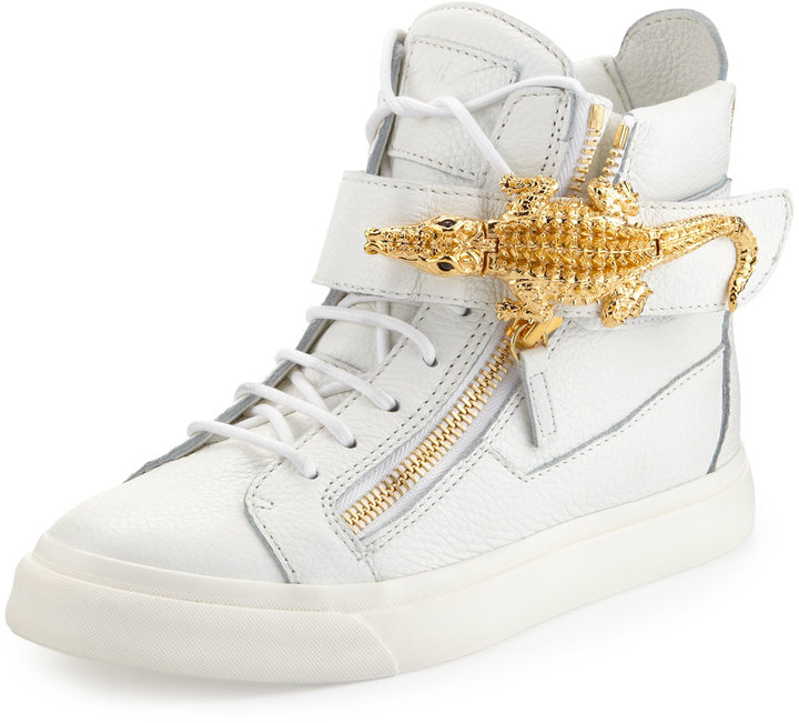 Giuseppe Zanotti Crocodile Side Zip Hi-Top Sneaker, White