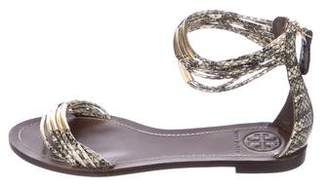 Tory Burch Embossed Leather Sandals