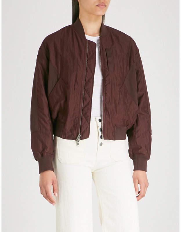 Reversible shell bomber jacket