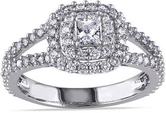 JCPenney MODERN BRIDE 1 CT. T.W. Princess-Cut Center Diamond 14K White Gold Double-Frame Ring