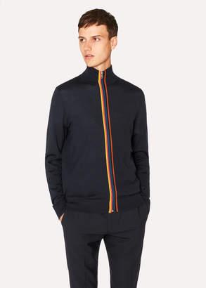 Paul Smith Men's Dark Navy Wool 'Artist Stripe' Zip-Through Cardigan