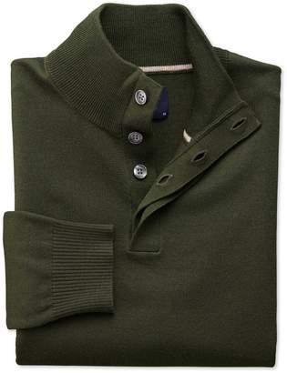 Charles Tyrwhitt Dark Green Merino Wool Button Neck Sweater Size Large