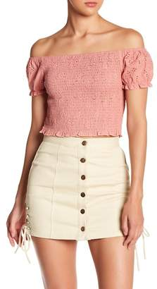 EMORY PARK Shirred Off-the-Shoulder Crop Top