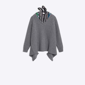 Balenciaga Wool vneck with twill scard traped inside the collar