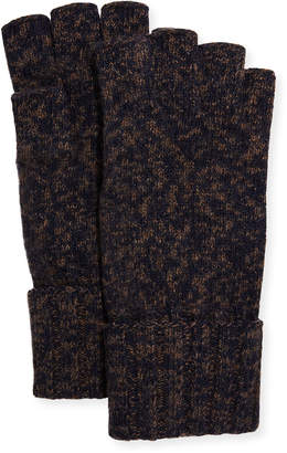 Portolano Men's Cashmere Tweed Fingerless Gloves