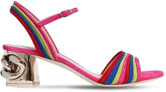 Casadei 50mm Chained Heel Rainbow Suede Sandals