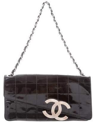 Chanel E/W Patent Square Quilt Flap Bag