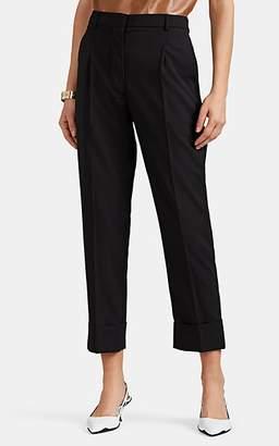 Prada Women's Worsted Wool Pleated Trousers - Black