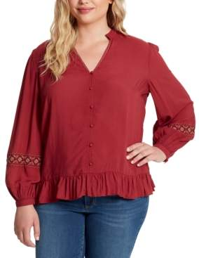 Jessica Simpson Trendy Plus Size Arya Embroidered Top