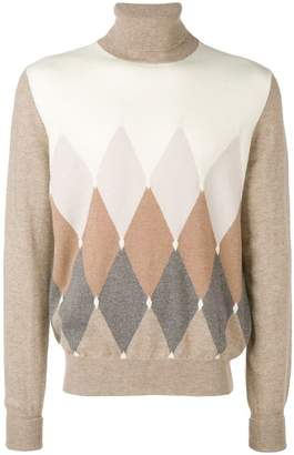 Ballantyne diamond instarsia turtleneck sweater
