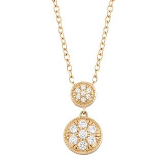 14k Gold 1/8 Carat T.W. Diamond Disc Drop Necklace
