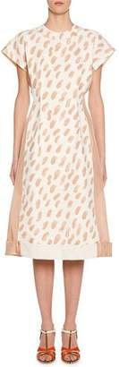 Marni Short-Sleeve Brushstroke Print Midi Dress