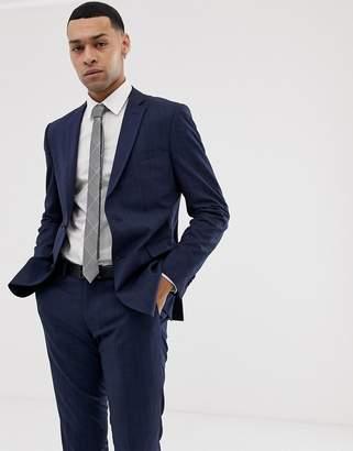 Esprit slim fit suit jacket in navy tonal glenn check