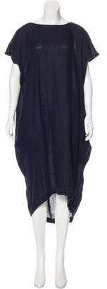 Black Crane Linen Short Sleeve Midi Dress