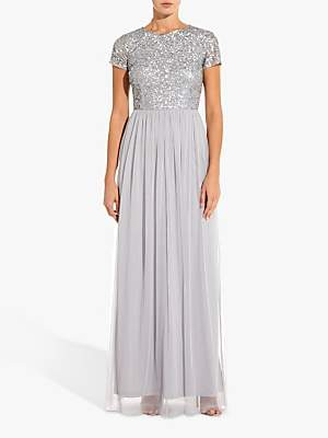 Adrianna Papell Sequin Tulle Maxi Dress, Bridal Silver