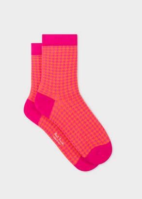 Paul Smith Women's Bright Pink And Orange Dogtooth Motif Socks