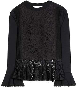 See by Chloe Lace-trimmed cotton-blend top