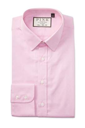 Thomas Pink Eno Textured Solid Super Slim Fit Dress Shirt