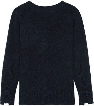 3.1 Phillip Lim - Open-back Knitted Sweater - Midnight blue $525 thestylecure.com