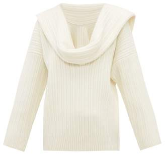 Jacquemus Draped Sleeve Virgin Wool Blend Sweater - Womens - Ivory