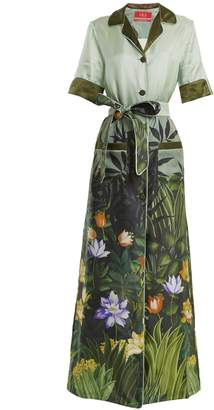 F.R.S - FOR RESTLESS SLEEPERS Floral-print tie-waist silk-twill shirtdress