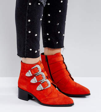Asos DESIGN RELIEVE Wide Fit Suede Buckle Ankle Boots
