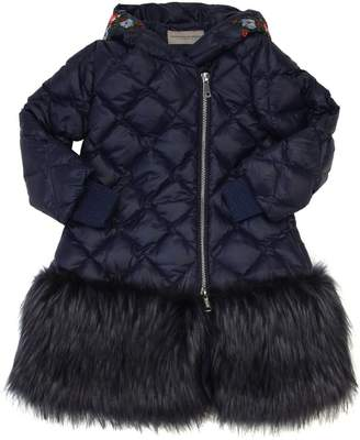 Ermanno Scervino Quilted Down Coat W/ Faux Fur
