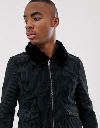 Pull&Bear cord jacket with faux fur collar in black
