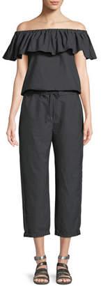 Brunello Cucinelli Off-the-Shoulder Straight-Leg Crinkle Cotton Jumpsuit