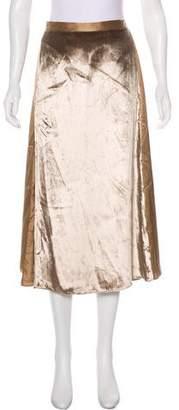 Michelle Mason Velvet-Paneled Silk Skirt w/ Tags