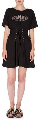 Kenzo Short-Sleeve Laced Fit-and-Flare Dress, Black $270 thestylecure.com