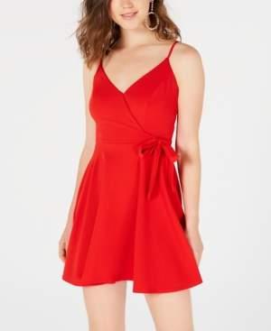 B. Darlin Juniors' Lace-Back Faux-Wrap Dress