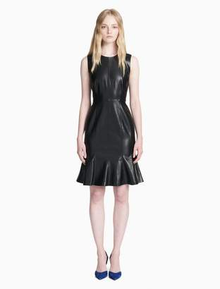 Calvin Klein faux leather fit + flare dress