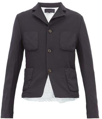 Comme des Garcons Ruffled Poplin Trim Tailored Jacket - Womens - Navy