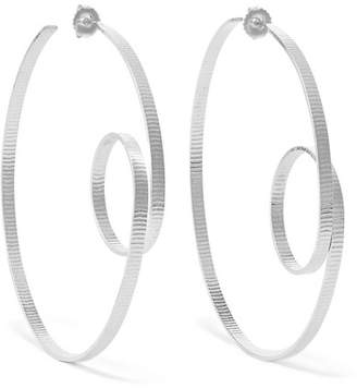 Annie Costello Brown - Circle Scroll Silver Hoop Earrings