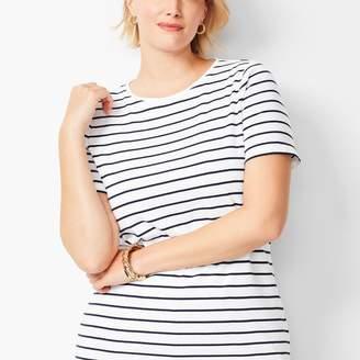 Talbots Cotton Crewneck Tee - Bi-Color Stripe